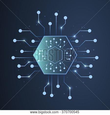 Abstract Processor Chip, Vector Art Illustration Microprocessor.