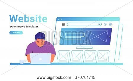 Website E-commerce Template To Create An Electronic Store Online. Creative Vector Illustration Of Cu