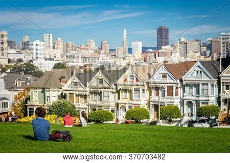 San Francisco, California, United States, November 2013: View On The Painted Ladies Victorian Houses