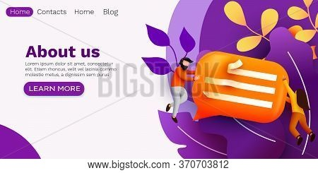 Small People Flying Around Chat Bubble. Talking Couple. Online Messenger Or Contacts Sign Concept.