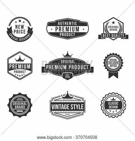 Vintage Premium Product Flat Badges Set. Retro Design For Exclusive Shields, Discount Stamps And Cla