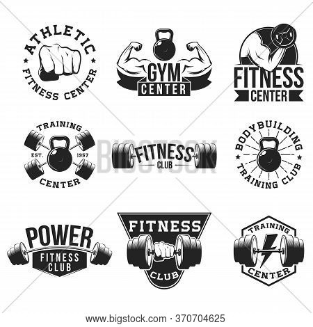 Retro Gym Flat Emblem Set. Aggressive Hot Design For Sport Club Posters, Logos, Icons And Stamps Vec