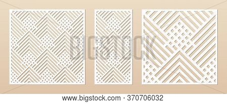 Laser Cut Panel. Abstract Geometric Pattern With Lines, Rhombuses, Squares. Elegant Decorative Templ