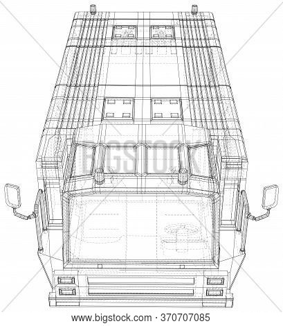 Vector Wire-frame Tow Truck Transport In Airport. The Layers Of Visible And Invisible Lines Are Sepa