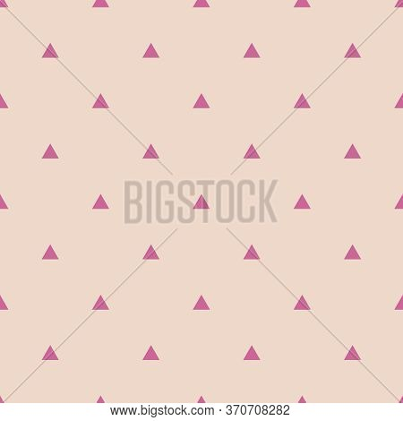 Tile Vector Pattern With Violet Triangles On Pastel Beige Background