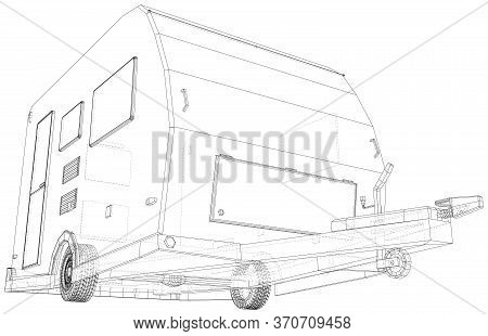 Camper Trailer Isolated. 3d Rendering. Wire-frame. The Layers Of Visible And Invisible Lines Are Sep