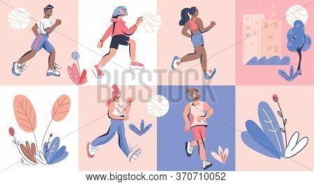 Marathon Or Sprint Runners People Cartoon Characters. Healthy Lifestyle, Vector.