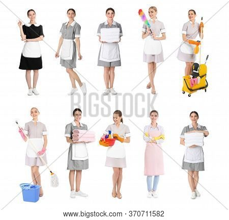 Collage With Photos Of Chambermaids On White Background