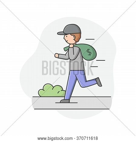 Concept Of Urban Security And Robbery. Crime And Chaos On The Streets. Robber Is Running By The Stre