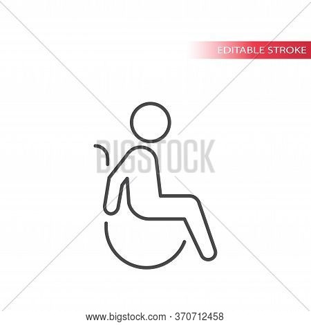 Disabled Symbol, Man In Wheelchair Thin Line Vector Icon. Disability Sign, Outline And Fully Editabl