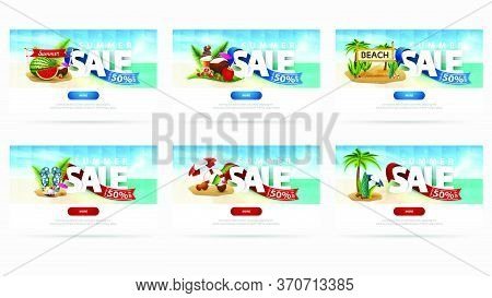 Summer Sale, Up To 50% Off, Large Set Of Horizontal Discount Banners For Your Website With Summer Ic