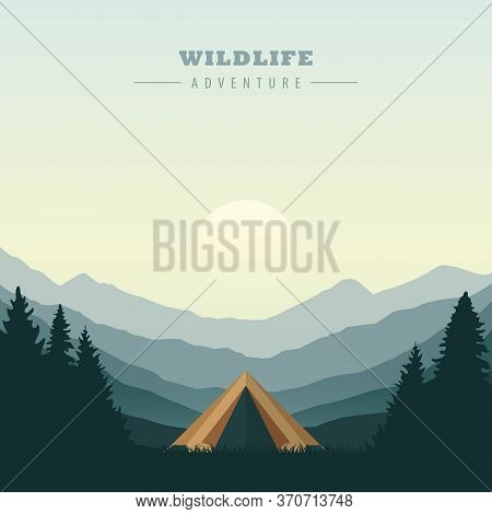 Camping Tent In The Wilderness Green Mountain Landscape Vector Illustration Eps10