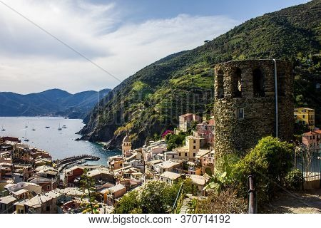 Vernazza, Italy - July 8, 2017: View Of Vernazza Town And The Church Of Santa Margherita D\'antiochi