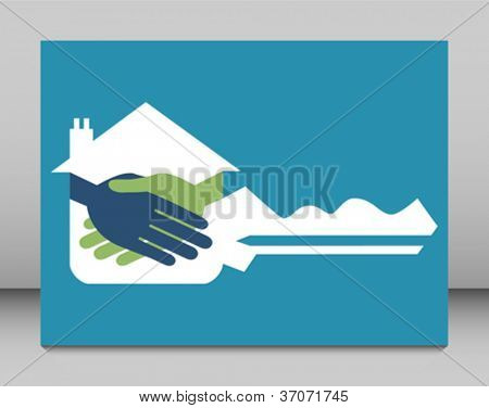Property or real estate key handshake design.