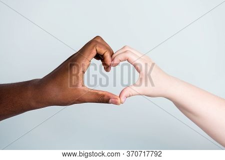 Closeup Photo Of Two Hands Arms Different Race Skin Color Multinational Couple Best Friends Anti Rac