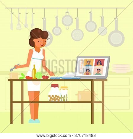 Online Cooking Masterclass, Vector Flat Style Design Illustration