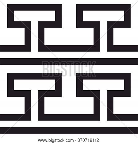 Tile Greek Black And White Vector Pattern