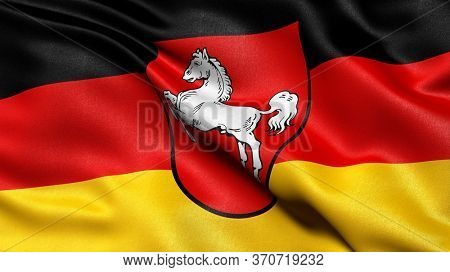 Flag of Lower Saxony waving in the wind. 3D illustration.