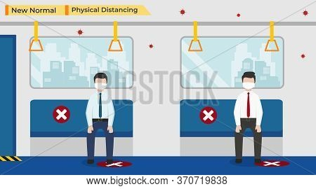 Vector Illustration Of Business People Go To Work On The Train, Keep Physical Distancing And Wearing