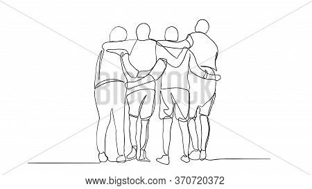 A Group Of Men And Women Standing Together Have Their Friendship - One Line Drawing. Single Continuo