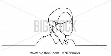 Continuous One Line Drawing.portrait Young Man In A Protective Face Mask From Coronavirus .concept S