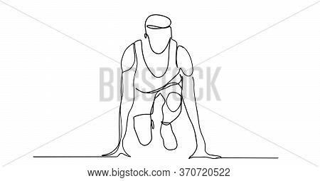 Running Run, Athlete, Vector - Continuous Line Drawing. One Continuous Line Drawing Of Young Woman A