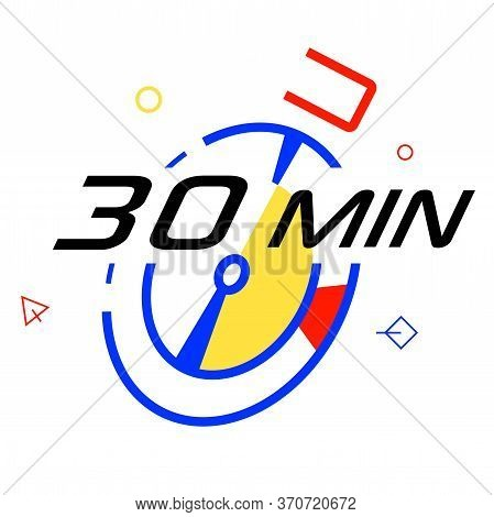 Timer Icon. 30 Minutes Stopwatch Symbol. Graphic Design Element. Flat Timer Symbol On A White Backgr