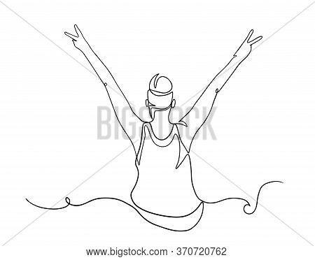 Continuous Line Drawing Of Cheering Woman Holding Fists. Woman Silhouette Excited Hold Hands Up Rais