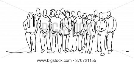 Continuous Line Drawing Of A Diverse Crowd Of Standing People Group Of People Continuous One Line Ve