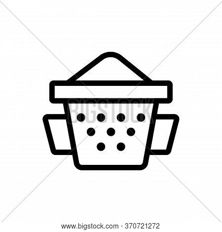 Sieve With Flour Icon Vector. Sieve With Flour Sign. Isolated Contour Symbol Illustration