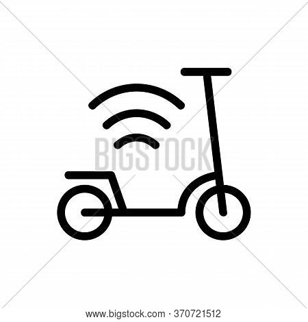 Scooter And Wifi Mark Icon Vector. Scooter And Wifi Mark Sign. Isolated Contour Symbol Illustration