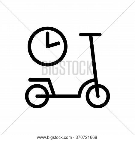 Scooter Sharing Using Time Icon Vector. Scooter Sharing Using Time Sign. Isolated Contour Symbol Ill