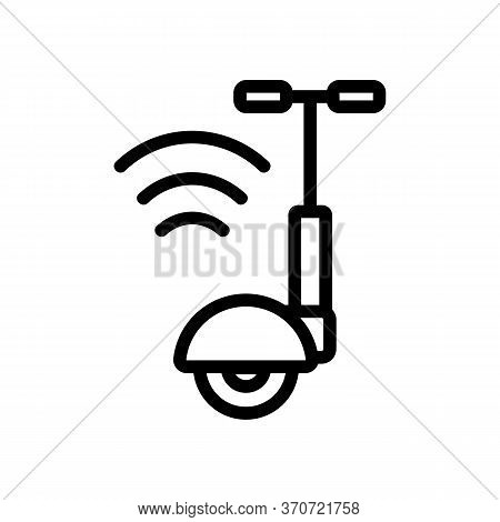 Unicycle Wifi Mark Icon Vector. Unicycle Wifi Mark Sign. Isolated Contour Symbol Illustration