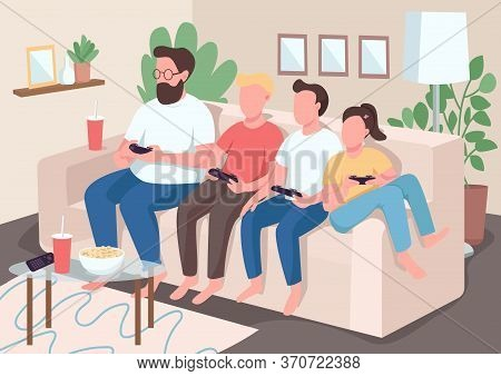 Family Bonding Flat Color Vector Illustration. Children Sit On Couch With Parents. Kids Play Videoga