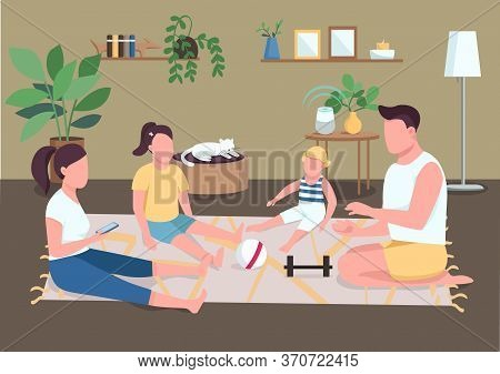 Family Bonding Flat Color Vector Illustration. Morning Routine For Parents And Children. Father And
