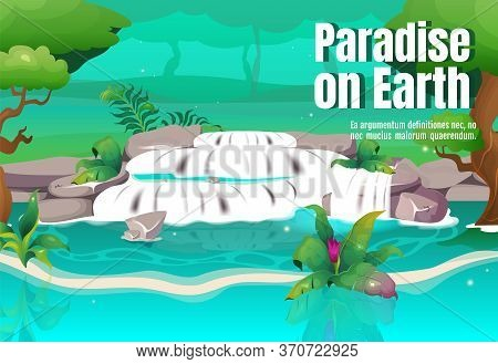 Paradise On Earth Poster Flat Vector Template. Turquoise Lagoon In Jungle. Rainforest With Water Str