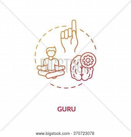 Guru Concept Icon. Professional Mentor, Experienced Specialist Idea Thin Line Illustration. Teacher,