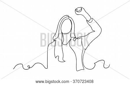 Strong Woman Continuous One Line Drawing. Continuous One Line Drawing Long Hair Girl Power Pose. Bea