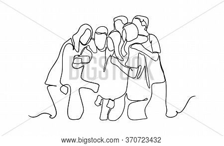Group Of Happy Young Friends Making Selfie - One Line Drawing. Continuous One Line Drawing Of Group