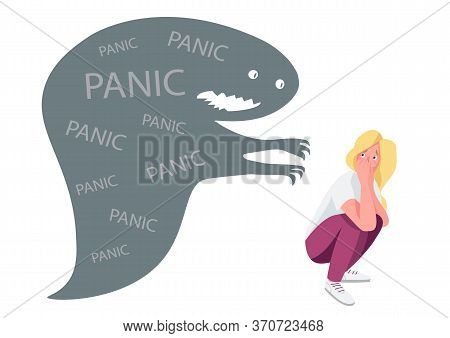 Woman With Panic Attack Flat Concept Vector Illustration. Young Lady Haunted By Monster 2d Cartoon C