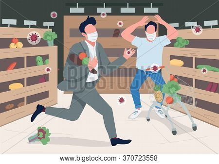 Panicking Store Customers Flat Color Vector Illustration. Shoppers In Surgical Masks 2d Cartoon Char