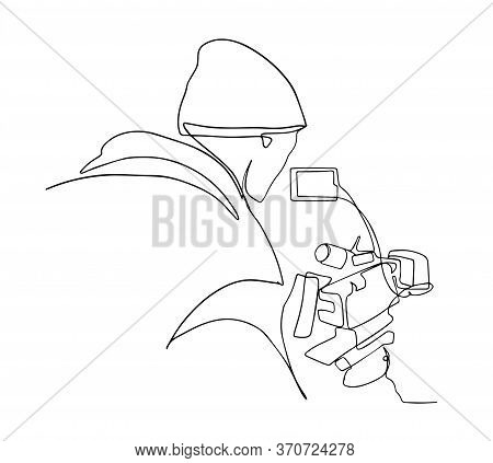 Continuous Single Drawn One Line Operator With Camera. Young Tourist Man Photographer With A Camera