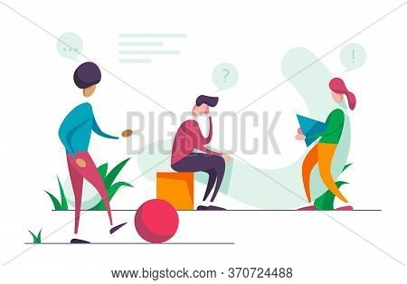 Search For New Ideas. Problem Solving. Vector Illustration Banner. Teamwork Search Miniature People.