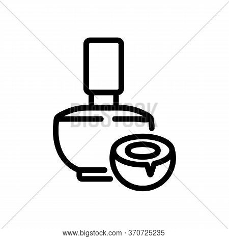 Coconut Aromatic Liquid Bottle Icon Vector. Coconut Aromatic Liquid Bottle Sign. Isolated Contour Sy