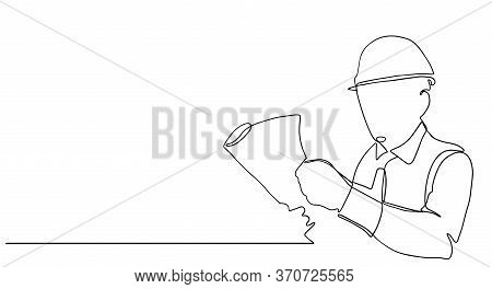 One Continuous Line Drawing Of Young Foreman Manager Controlling The Construction Of Building.buildi