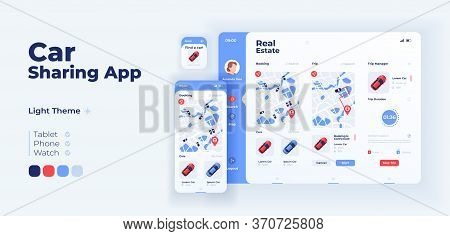Ridesharing App Screen Vector Adaptive Design Template. Collective Trip On Taxi. Car Sharing Applica