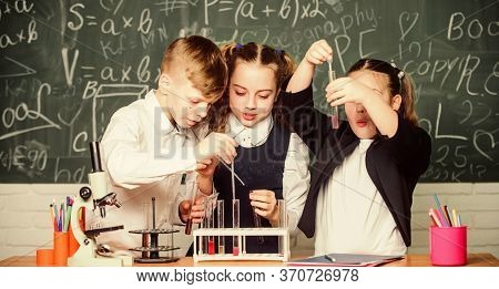 Chemical Reaction Occurs When Substance Change Into New Substances. Pupils Study Chemistry In School