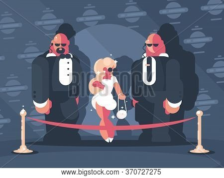 Elegant Blonde Lady Famous Star With Bodyguards