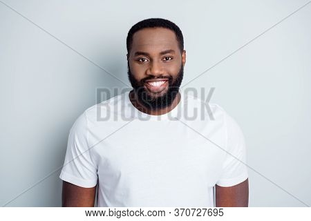 Black Lives Matter. Photo Of Handsome Dark Skin African Young Guy Protester Good Mood Toothy Smiling