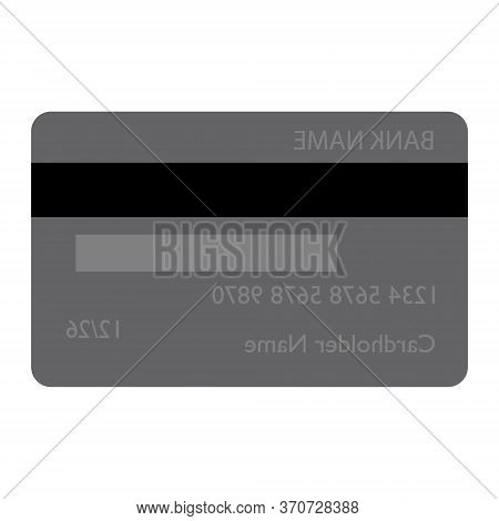 Grey Bank Credit Debit Card Back View Isolated On White Background Vector